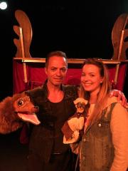Photo of Filipe, Margot and Dog puppet