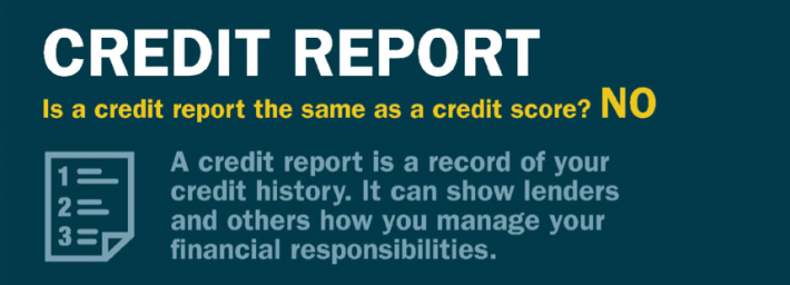 A credit report is not the same as a credit score as it shows your credit history and how financially responsible you are.