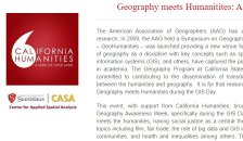 Screenshot of Geography meets Humanities webpage