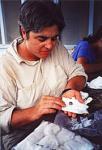 Dr. Sankey examining dino teeth