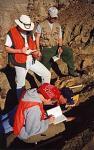 students examining ground