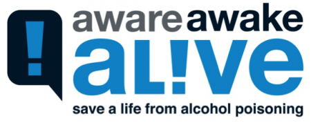 """this is a logo for the alcohol poisoning campaign """"Aware, Awake, Alive"""" save a life from alcohol poisoning"""