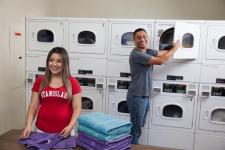 students doing laundry