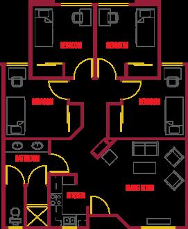 Village1 Single Apartment Floor Plan
