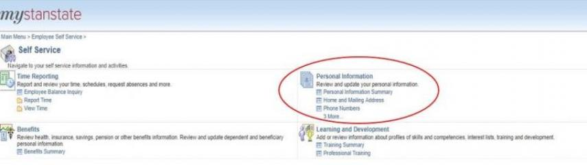 """In the """"Personal Information"""" section, select the area you wish to update."""