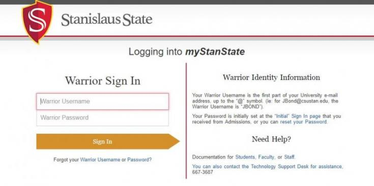 """Log into your """"myStanState"""" portal by entering your User ID (Warrior Username) and Password."""