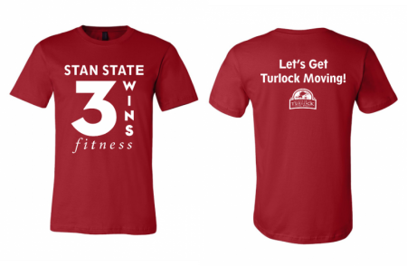 Red t-shirts with Stan state 3 wins fitness and let's go Turlock moving