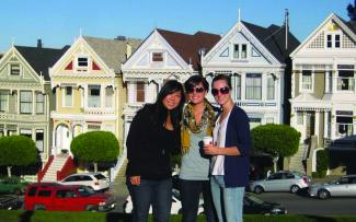 Students at the Painted Ladies in San Francisco