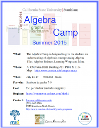 Algebra Camp Flyer