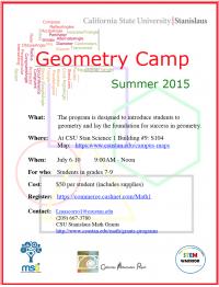 Geometry Camp Flyer