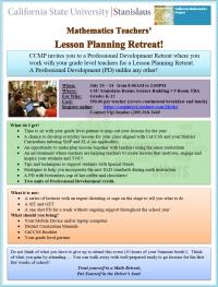CCMP Mathematics Teachers Lesson Planning Institute
