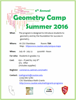 Geometry Summer camp flyer