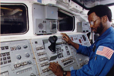 photo of McNair in space shuttle