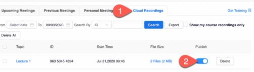 Publish cloud recordings