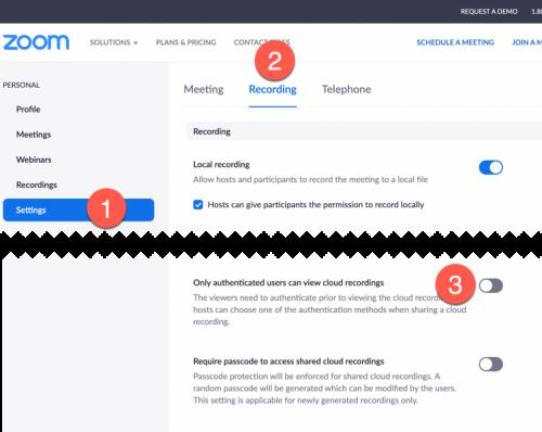 Zoom cloud recording permissions setting