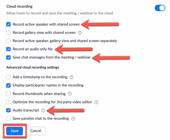 Sample cloud recording settings