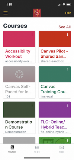 Canvas app My courses page