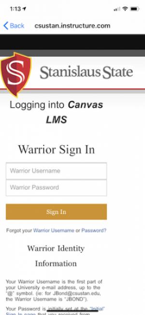 Canvas app Warrior Sign In