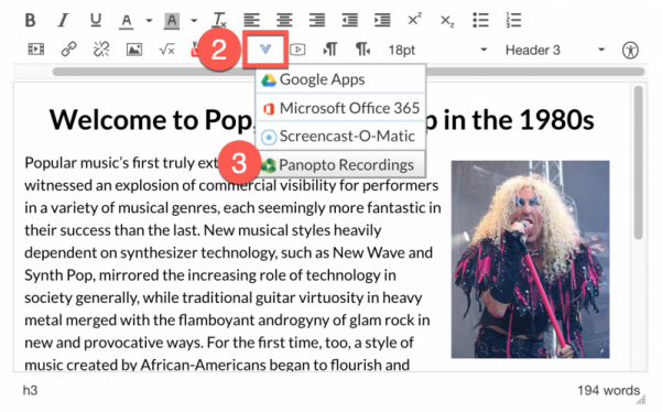 Canvas Rich Content Editor showing the external tools item and selecting Panopto Recordings