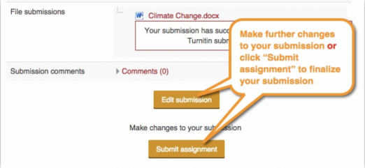 """After you've uploaded the document, you might need to confirm the submission and finalize. This depends on how your instructor has set up the assignment.  Be sure to click """"Submit assignment"""" or it won't be counted!"""