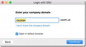 Dialog box for entering SSO domain