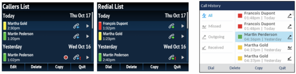 Callers List and Redial List before version 4.2, and Call History in version 4.2