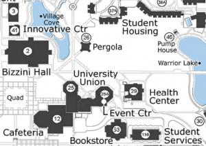 Map of Campus showing Pergola