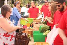 Students selling fresh veggies