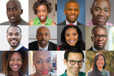 The presenters: Top Row L-R: Tyrone Howard, Aletha Harven, Ivory Toldson, Cleveland Hayes. Second row: D'Artagnan Scorza, DeLeon Gray, Rema Reynolds, Toluwalogo Odumosu Third row: Fran'Cee Brown McClure, Solunis Nicole Bay Adam, Zack Ritter, Angela Chen