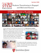 Newsletter front page with student photos and text