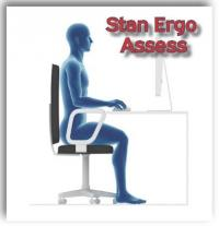 Image of Figure sitting at a disk with words Stan Ergo Assess