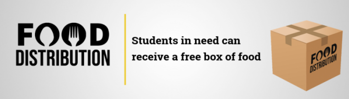Food Distribution. Students in need can receive a free box of food.
