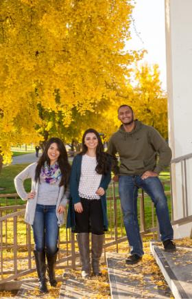 Group photo.Three students.