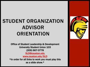 Student Organization Advisor Orientation slideshow