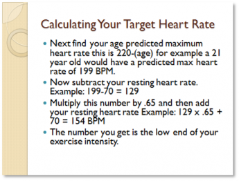 Calculating your target heart rate. Next find your age predicted maximum heart rate this is 220-(age) for example of 21 year old would have a predicted max heart rate of 199 BPM. Now subtract your resting heart rate, example: 199-70=129. Multiply this number by .65 and then add your resting heart rate, example 129x.65+70=154 BPM. The number you get is the low end of your exercise intensity.