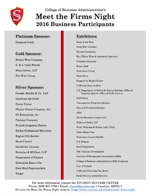 Meet the Firms Night business participants
