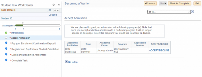 Screenshot of screen to accept admission