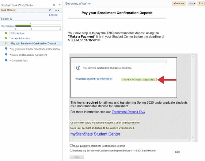 Screenshot of where to go in the student center to pay the enrollment confirmation deposit