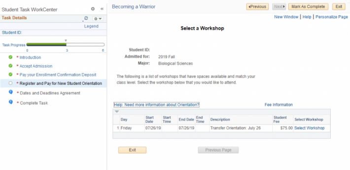 Screenshot with New Student Orientation workshop selection