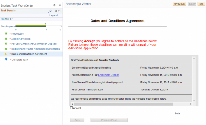Screenshot of the dates and deadlines agreement
