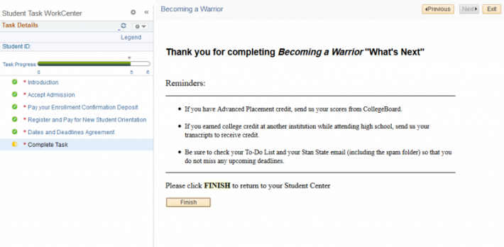 Screenshot of the completed Becoming a Warrior tasks