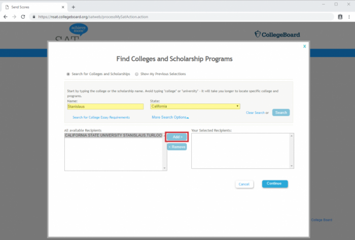 Collegeboard website screenshot highlighting name, state and the add button