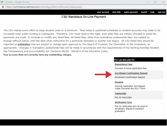 myStanState portal screen with cursor pointing to myStanState link under Peoplesoft heading