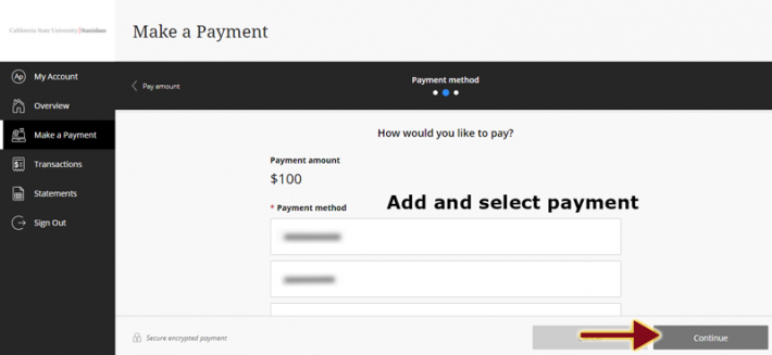 Cashnet screen with payment options and arrow pointing to Continue button