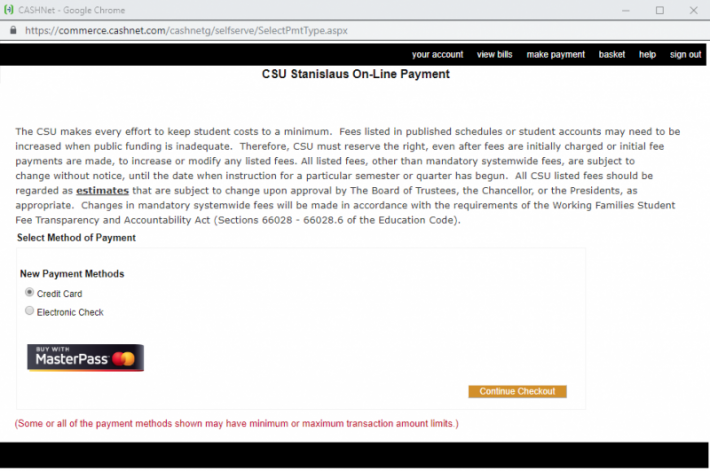 Cashnet screen of payment options