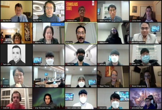 Zoom screenshot of Stan State and Tongmyong University students and faculty