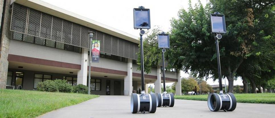 Three telepresence robots on campus