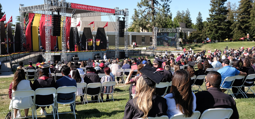 Commencement stage and audience