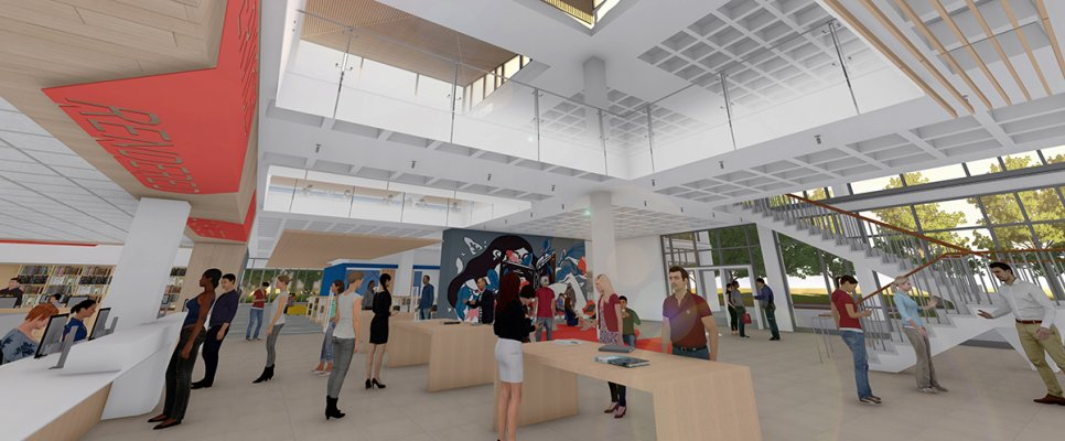 Rendering of Vasché Library's renovated foyer