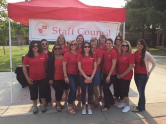 Staff Council members at Welcome Back coffee mixer August 2015